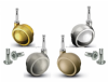 BALL Castors/Casters, Die Cast Alloy BROWN & BEIGE, 50mm diameter wheels. Socket fitting included. 2-100